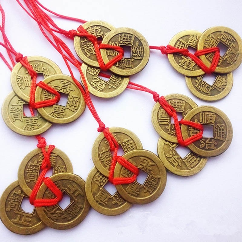 3 Pieces Bunch Chinese Coins For Wealth And Success Lucky